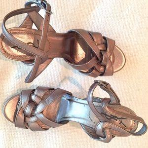 0bdf7fd241e Yves Saint Laurent Shoes - YSL TRIBUTE GOLD/ BRONZE SLINGBACK SANDAL HEEL 39